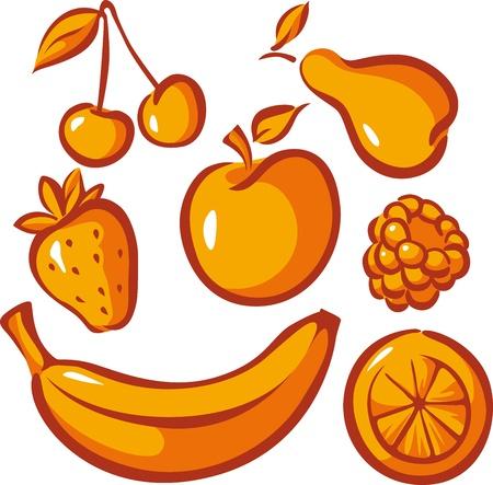 set of fruit isolated on white background Stock Vector - 17478615