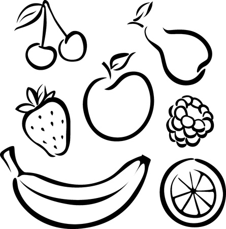 Set of vector fruit icons - black on white background
