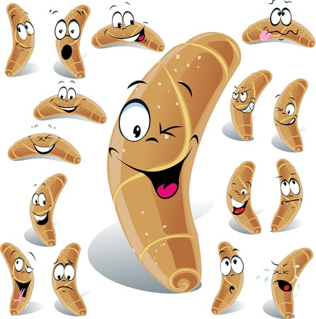 pastry roll cartoon with many expressions isolated on white background Stock Vector - 17478670
