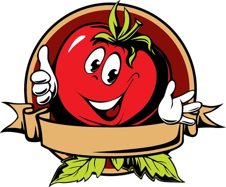 tomato cartoon: round tomato cartoon label on white background