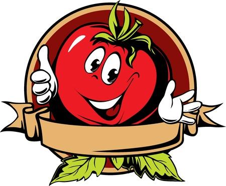 vegetable cartoon: round tomato cartoon label on white background