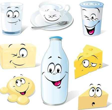 dibujos animados de productos lácteos - leche, queso, mantequilla y yogur