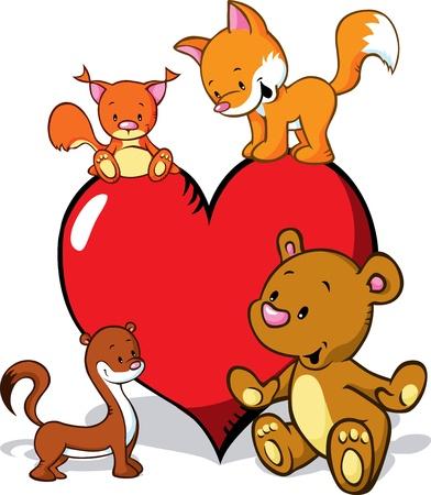 squirrel isolated: animales de dibujos animados lindo con el coraz�n de San Valent�n - zorro, el oso, la comadreja y la ardilla aislada en el fondo blanco
