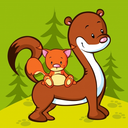 weasel and squirrel in the wood - illustration Vector