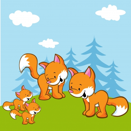 fox family on meadow near the forest - illustration Stock Vector - 17780095