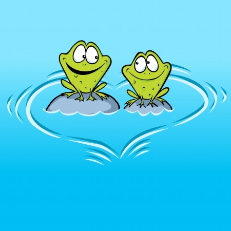 crazy frog: Frogs In Love sitting on a stone in water with heart shape waves