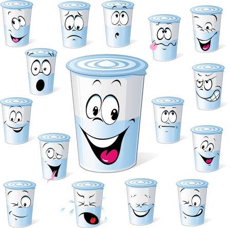 processed food: dairy product in plastic cup - funny cartoon with many facial expressions isolated on white background