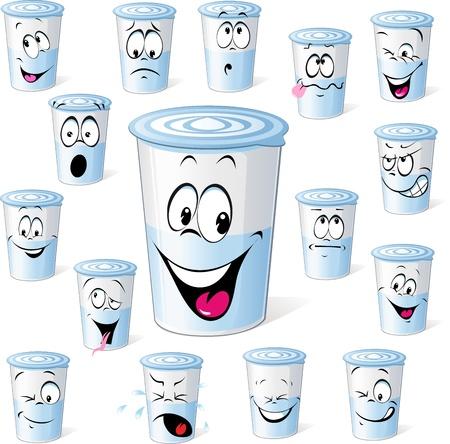 gestos de la cara: productos lácteos en vaso de plástico - historieta divertida con muchas expresiones faciales aislados en fondo blanco