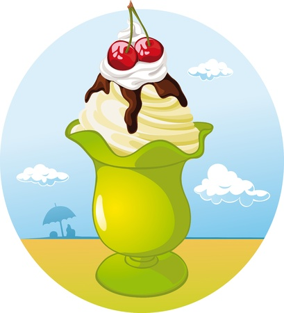 ice cream cup: ice cream cup - holiday refreshing with cherry