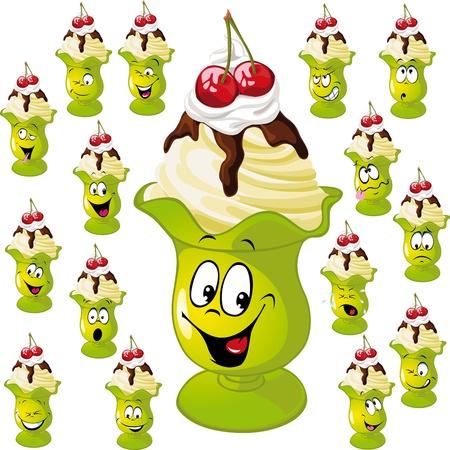 vanilla pudding: hielo taza de crema con muchas expresiones faciales aislados en fondo blanco Vectores