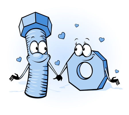 screw: bolt and nut cartoon - belong together, design for valentines day or wedding card  Illustration