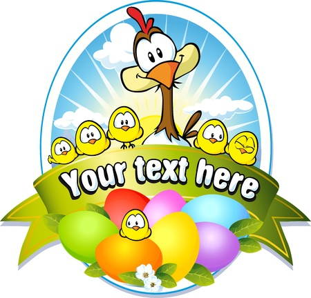 chicken family: easter label with colorful eggs, chicken and hen cartoon