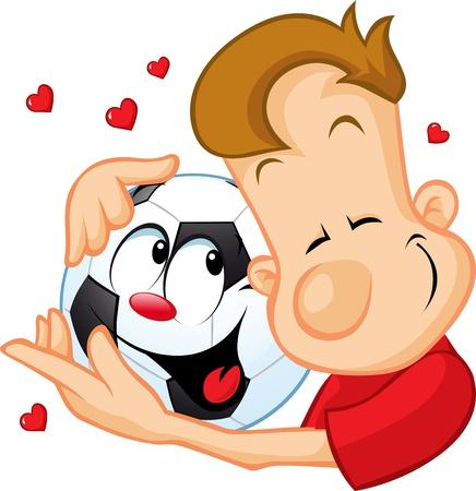 futbol soccer dibujos: amor del fútbol - pelota deportista abrazos amado, aislados en fondo blanco Vectores