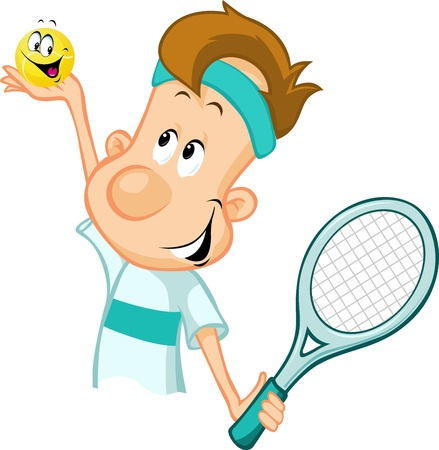 headband: tennis player holding a tennis ball and racket isolated on white background