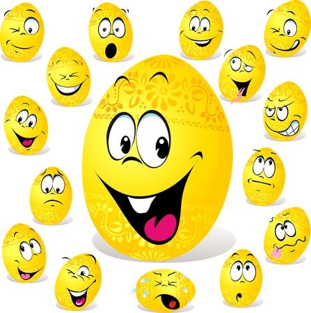 grappige easter egg cartoon geïsoleerd op witte achtergrond