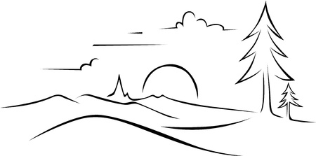 arboles blanco y negro: dibujo abstracto paisaje - contorno negro