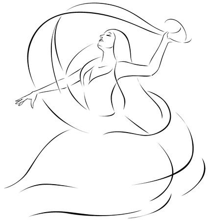 belly dancer with veil - black line illustration  Vectores