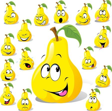 梨: 白い背景で隔離の多くの式で pear 漫画