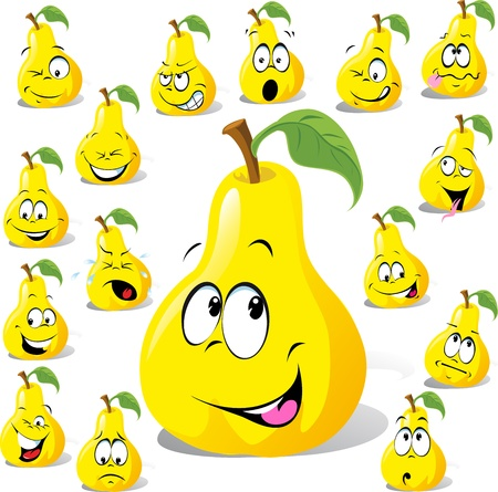 pear cartoon with many expressions isolated on white background