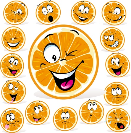 orange cartoon with many expressions isolated on white background
