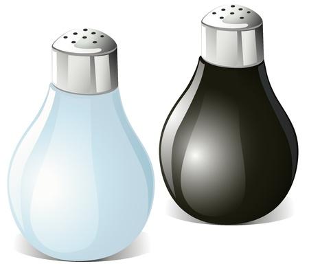 pepe nero: saliere e pepe isolato su sfondo bianco Vettoriali
