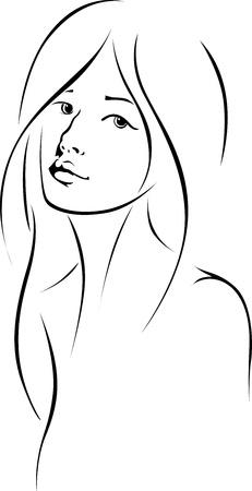 dessin au trait: visage de femme aux cheveux longs - dessin au trait noir Illustration