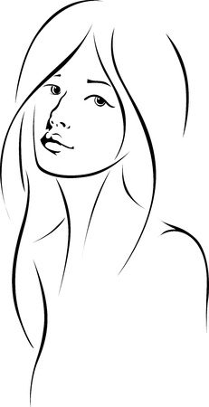 woman face with long hair - black outline drawing