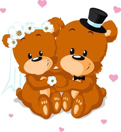 결혼식 곰 - 흰색 배경에 고립 된 곰