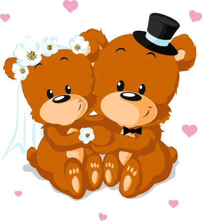 love cartoon: bear wedding - bears isolated on white background