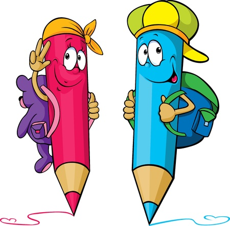 writing instrument: colored pencils cartoon with school bags on their backs isolated on white background Illustration