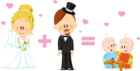 wedding card with groom bride and babies Vector