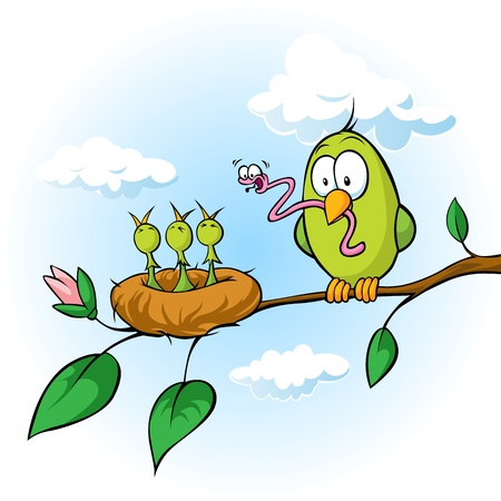 happy family nature: spring illustration of cute bird, sitting on branch feeding hungry chicks