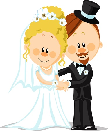 bride cartoon: bride and groom vector illustration isolated on white background Illustration