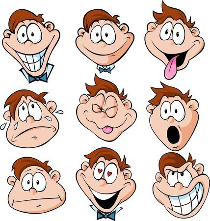 人間の感情 - 白い背景上に分離されて多くの顔の表情を持つ男のイラスト