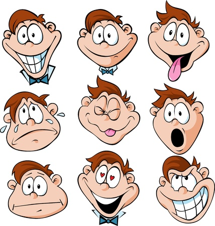 emotions faces: man emotions - illustration of man with many facial expressions isolated on white background