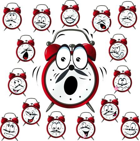 白い背景上に分離されて多くの顔の表情と目覚まし時計漫画