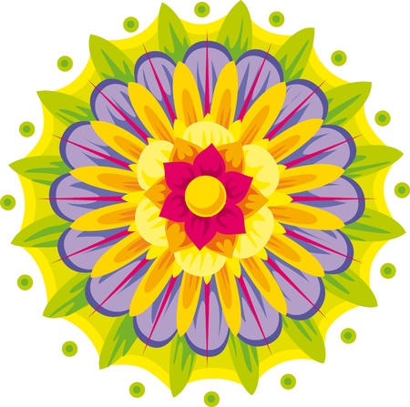 developed: colorful floral mandala isolated on white background Illustration