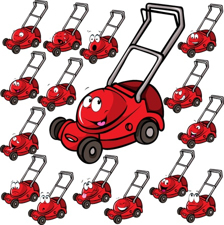 Illustration of lawn mower with face isolated on white background