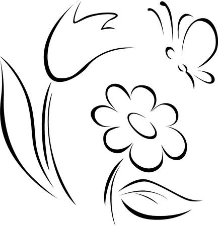 spring flower outline on white background Stock Vector - 20748947