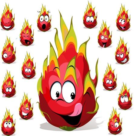 dragon fruit cartoon met vele gezichtsuitdrukkingen op een witte achtergrond