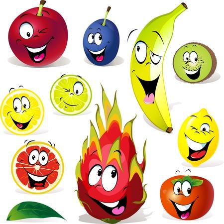 fruit du dragon: dessin anim� de fruit avec de nombreuses expressions isol�es sur fond blanc