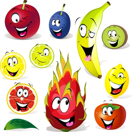 crazy face: fruit cartoon with many expressions isolated on white background