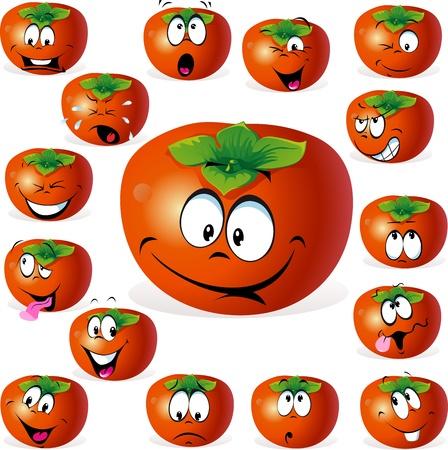 caqui: caqui fruta dos desenhos animados com muitas express Ilustra��o