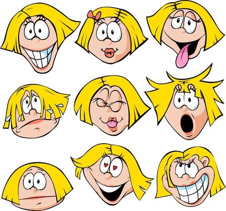 occhi tristi: Donna Emozione - illustrazione di donna con molte espressioni del viso isolato su sfondo bianco