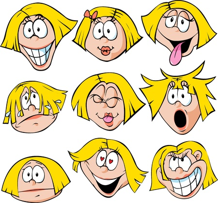 woman emotions - illustration of woman with many facial expressions isolated on white background Vectores