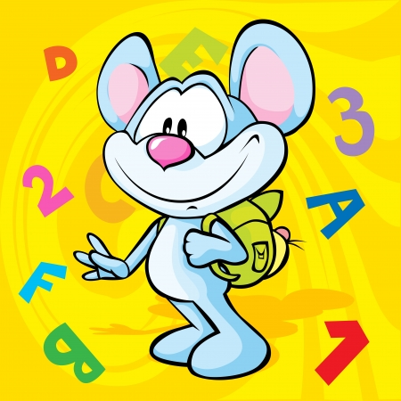 numbers abstract: cute mouse cartoon illustration with school bag on the back