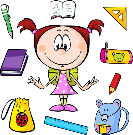 1 school bag: illustration of a girl with school supplies on a white background  Illustration