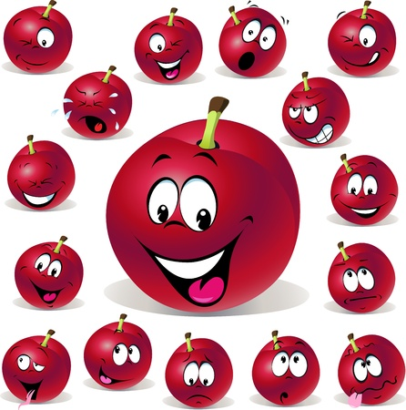 red plum cartoon illustration with many expressions isolated on white background