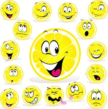 limon caricatura: historieta de limón con muchas expresiones aisladas sobre fondo blanco