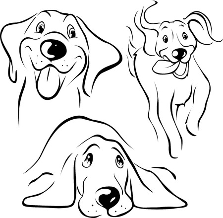 白い背景の上犬イラスト - ブラック ライン  イラスト・ベクター素材